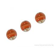 Perle en verre artisanale de Murano- roue - orange- sertie argent 925