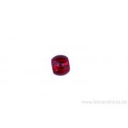 Perle en verre ronde - rouge -feuille argenté