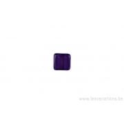 Perle en verre carrée - mauve transparent x 4