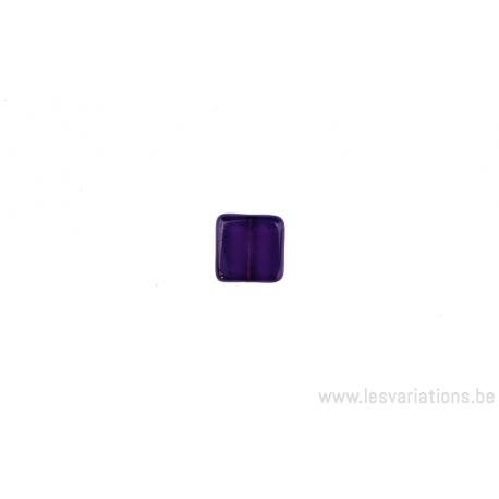 Perle en verre carrée - mauve transparent
