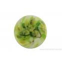 Cabochon en verre artisanal - la nature- blanc et vert