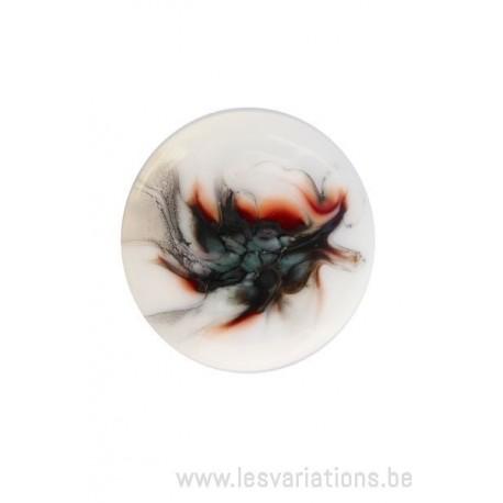 Cabochon en verre artisanal - la plume- noir - brun