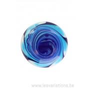 Cabochon en verre artisanal - la sprirale- bleu