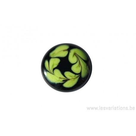 Cabochon en verre artisanal - les feuilles - noir et vert