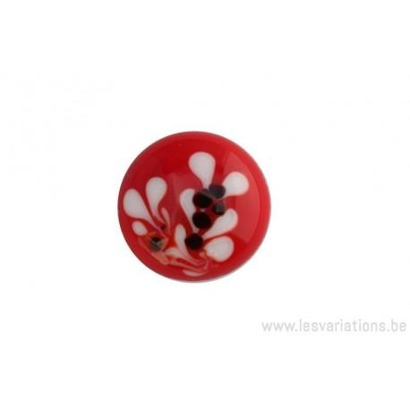Cabochon en verre artisanal - la brache - rouge et blanc