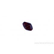 Perle en verre losange - brun ligné jaune