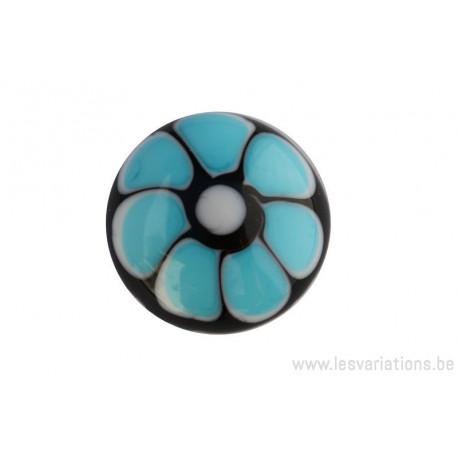 Cabochon en verre artisanal la fleur - noir bleu turquoise