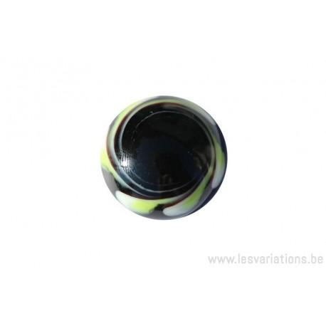 Cabochon en verre artisanal le point rouge blanc noir