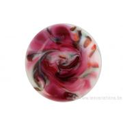Cabochon en verre artisanal - motif abstrait rose