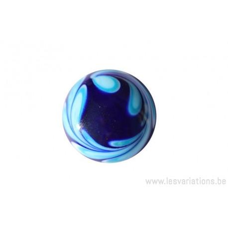 Cabochon en verre artisanal - couronne de feuille bleu