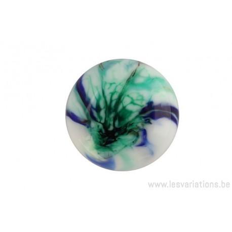 Cabochon en verre artisanal - éclat - vert et bleu