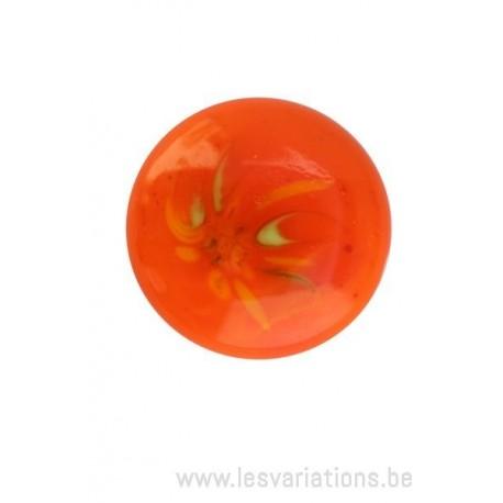 Cabochon en verre artisanal - éclat - orange