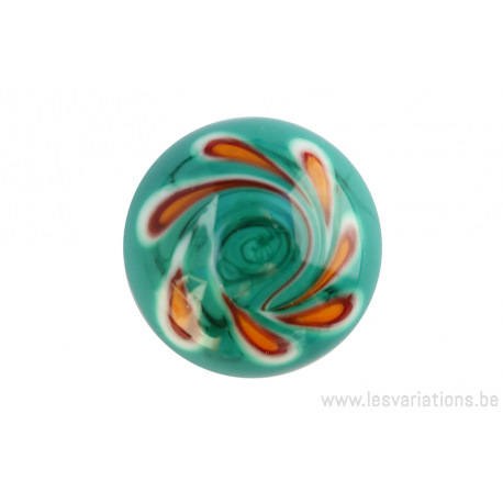 Cabochon en verre artisanal - pétale - vert / orange