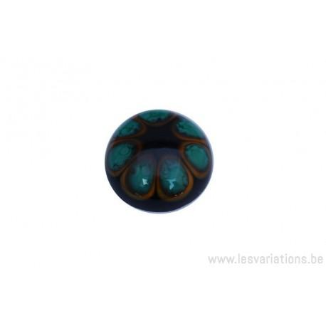 Cabochon en verre artisanal - la fleur - noir vert