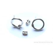 attache boucle d'oreille avec un anneau ouvrable - en argent 925 - la paire