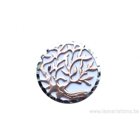 Médaillons rond avec un joli arbre sytilisé - en argent 925 et plaqué rosé -18 mm