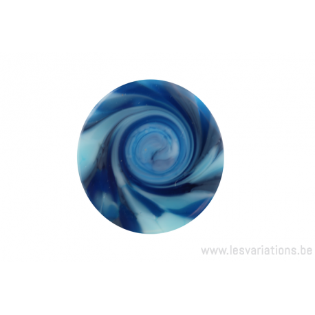 """Cabochon en verre artisanal """"la spirale"""" - bleu"""