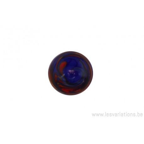 Cabochon en verre artisanal - bleu rouge et orange