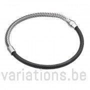 Bracelet homme demi cuir - demi chaîne rhodiée
