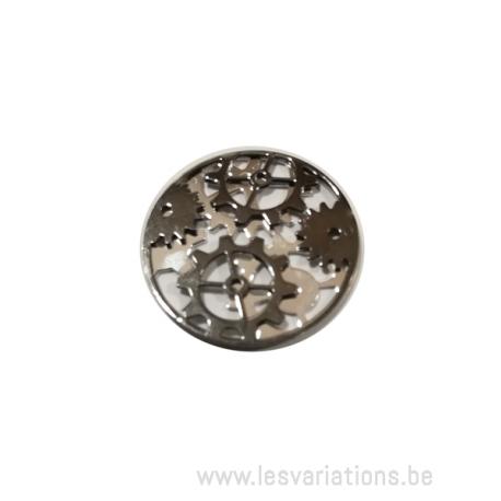 Médaillons rond avec engrenage - en argent 925 - 20 mm