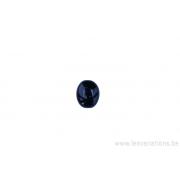Perle en verre ovale plate - noir x 4