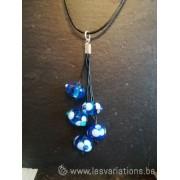 Pendentif 5 perles de différents bleus