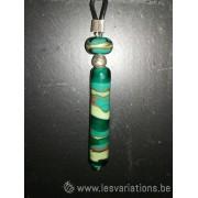 """Collier de verre """" les strates"""" - différents verts"""