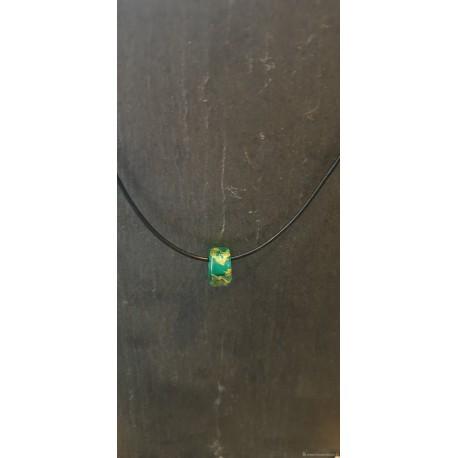 Pendentif en verre bleu vert et feuille d'argent
