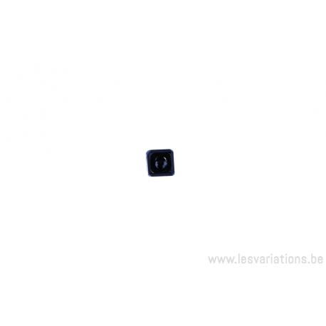 Perle en verre carrée à facette - noir