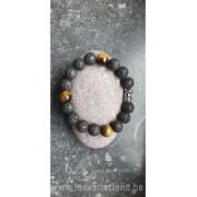 Bracelet en perles de lave + oeil de tigre pour homme