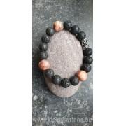 Bracelet en perles de lave + jaspe pour homme