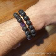 Bracelet en perles de lave + améthyste pour homme