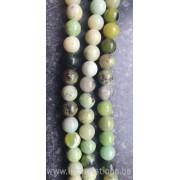 Perle en pierre naturelle - jaspe vert par 10