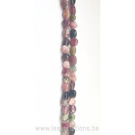 Perle en pierre naturelle - Tourmaline rose verte noir par 20 cm