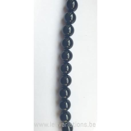 Perle en pierre naturelle Onyx 10 mm - ronde - noir