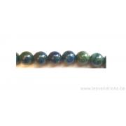 Perle en pierre naturelle en malachite azurite - ronde - vert /bleu