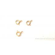 Fermoirs anneaux à ressort 6 mm,- en argent 925 doré
