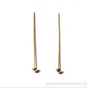 Tiges / clous 27mm tête triangulaire 2.5 mm - en argent 925 doré