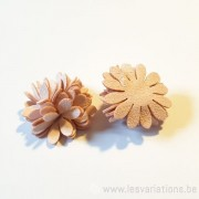 Fleur à coller imitation rose - daim 24 mm