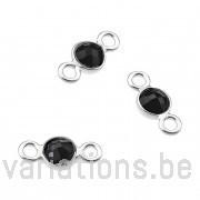 Spinelle noire serties argent 925 rondes 4mm 2 anneaux