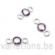 Améthyste sertie argent 925 rondes 4mm 2 anneaux