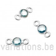 Topaze sertie argent 925 rondes 4mm 2 anneaux