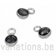 Spinelle noire sertie argent 925 rondes 4mm 1 anneau