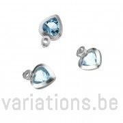 Breloques coeurs cristal topaze sertie argent 925 rondes 6 mm 1 anneau