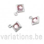 Breloques carré cristal rose sertie argent 925 rondes 6 mm 1 anneau
