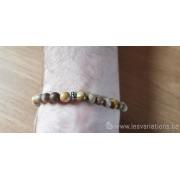 Bracelet en bois fossilisé perles mâtes polie pour homme
