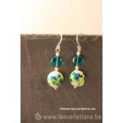 Kit boucles d'oreille en perles d'artisan - bleu / vert