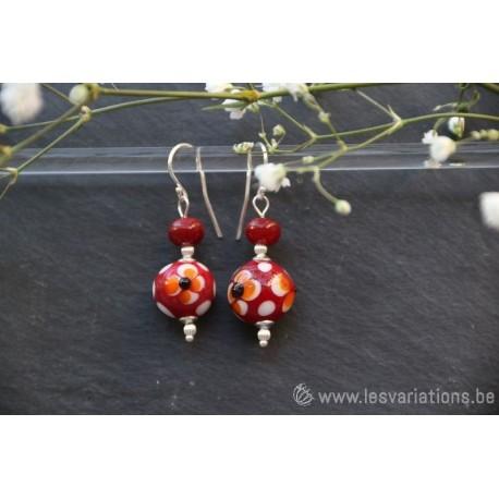 Boucles d'oreille en perles d'artisan verte / orange - collection Vintage