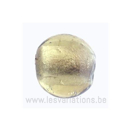 Perle en verre ronde jaune