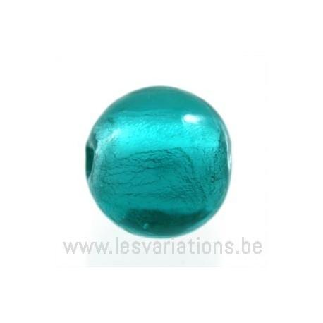 Perle en verre ronde turquoise